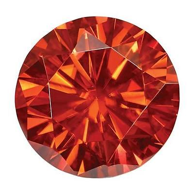 1 Coupe Ronde Brillant Moissanite Chic Orange 7mm Diamètre 1.20 Tw Pierre