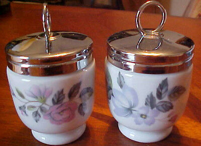 2 Royal Worcester Egg Coddlers With Screw On Lid Rose Floral