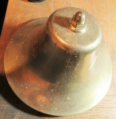 "Vintage Ship / Train Brass Bell 8"" Diameter wide brim with Brass Clapper"