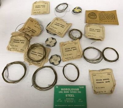 Large Group Of Brass Spring Wire, Different Gauges +Horolovar Tapered Pins !!!!!