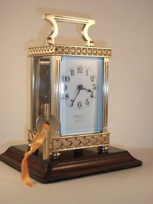 Good Quality Antique Brass Carriage Clock With Unusual Case. C 1895. Key.