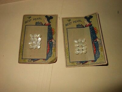 Antique Victorian Mother Of Pearl Baby Clothing Buttons ~ 2 CARDS OF 10 BUTTONS