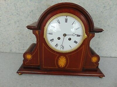 Old Antique French Japy Wooden Inlay Case Mantle Shelf Runs Restore  Clock Parts