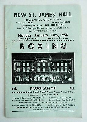 RARE OLD 1958 BOXING PROGRAMME - ST. JAMES HALL NEWCASTLE - BOWES vs TRAYNOR