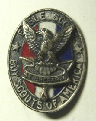 1940s Boy Scout  Eagle Scout  Sterling / Enameled Pin - BSA