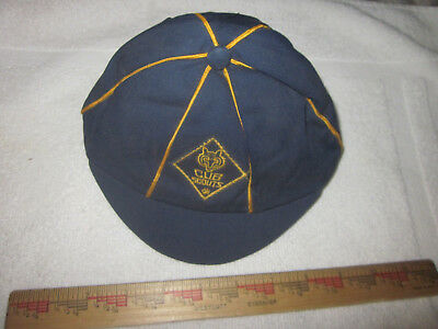 Vintage BSA Cub Scouts Blue Hat Cap Size 6 3/4  Blue Gold Embroidered Patch Good