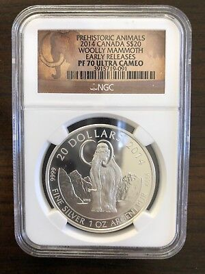 2014 Canada 1 oz $20 Silver Woolly Mammoth NGC PF70 Ultra Cameo Early Releases