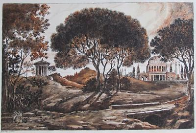 1960's Ink & Sepia Tone Drawing * ITALY or GREECE * Signed