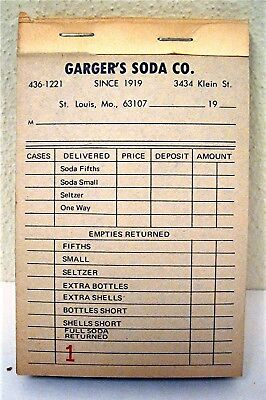 Old Garger Soda Pop Company St Louis Mo Unused Full Receipt Book Old Store Stock