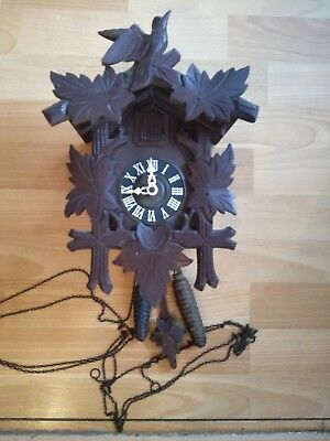 Cuckoo Clock German Black Forest Wood With Metal Weights