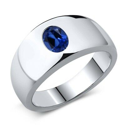 1.64 Ct Oval Blue Simulated Sapphire 925 Sterling Silver Men's Ring