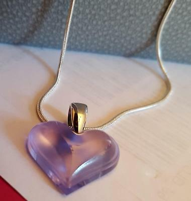 "Pendant Stunning Lalique Pretty Purple Small Heart Silver 18 "" Chain Outstanding"