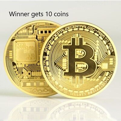 BITCOIN Gold Plated Physical Bitcoin Lot of 10 from US Great Gifts FAST SHIPPING