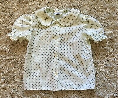 Vintage Jayne Copeland Toddler Girl White & Green Polka Dot Shirt Blouse 2T