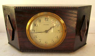 Antique French 'Japy Freres' 8-Day Mantel Clock Oak Case