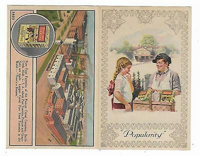 Old Trade Card Post Toasties Postum Cereal Co Battle Creek MI Pure Food Factory