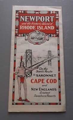 1939 Map of Newport Rhode Island New England Vintage Folded Map
