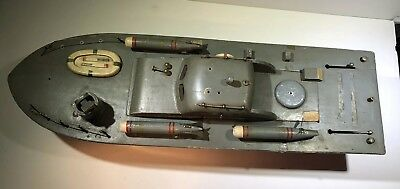 VINTAGE MODEL JAPANESE 1940s DESTROYER BATTERY OPERATED WOOD BOAT Parts/repair