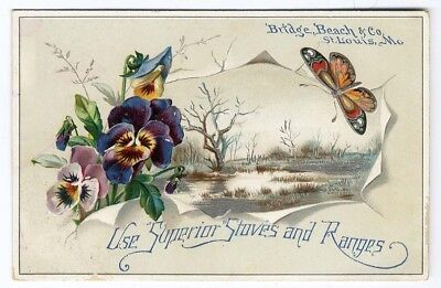 St Louis MO SUPERIOR STOVES RANGES Victorian Trade Card PANSY BUTTERFLY