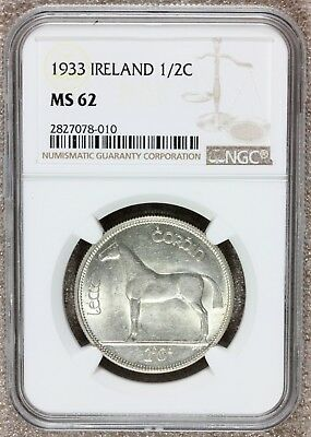1933 Ireland 1/2 Half Crown Silver Coin - NGC MS 62 - KM# 8 - RARE