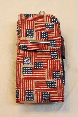 Longaberger  Old Glory Cell Phone Case  With  Wallet Wristlet  & Basket Charm