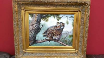 Stunning Oil On Board Featuring An Owl In A Tree - Signed Barker