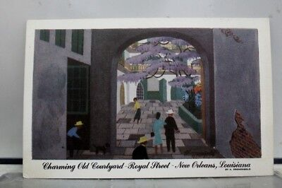 Louisiana LA Courtyard Royal Street New Orleans Postcard Old Vintage Card View