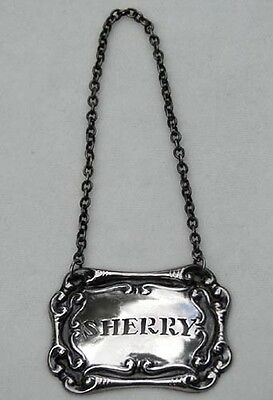 English Antique Silver Plate Bottle Label ~ Marked ~ Sherry