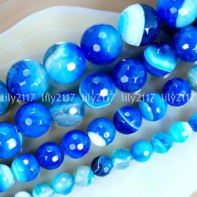 """Natural Faceted 6/8/10/12mm Blue Stripe Banded Agate Gemstone Round Beads 15"""""""