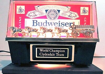 Budweiser Bar Table Top Light With Worlds Clydesdale Team Ships Quickly