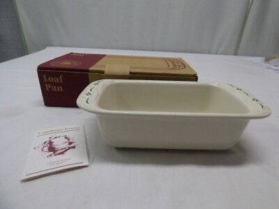 Longaberger Pottery Woven Traditions Green Large Loaf Baking Pan Dish