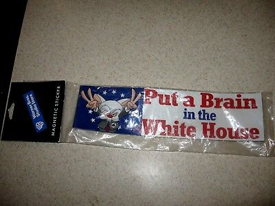 Pinky and the Brain Put a brain in the white house Magnetic Bumper Sticker 2000