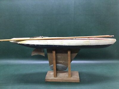 "Antique Wooden Pond Yacht Boat Sloop Ship Sailboat Model 30"" w/ Stand ~ As Is"