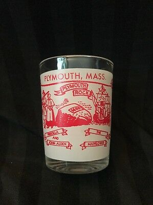Souvenir Glass PLYMOUTH ROCK PLYMOUTH MASS MAYFLOWER