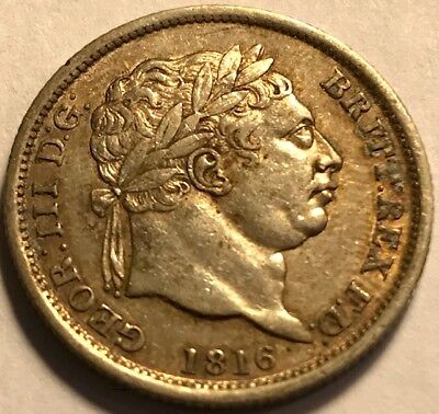 GREAT BRITAIN - George III - TONED Silver Shilling - 1816 - Extra Fine + - NICE!