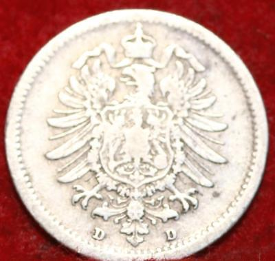 1874-D Germany 20 Pfennig Silver Foreign Coin