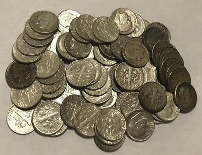 Lot of (74) Roosevelt 90% Silver Dimes, Mixed Dates, Circulated, Bullion Lot