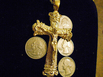 bling gold plated CHRISTIAN JESUS cross crucifix PENDANT charm hip hop necklace