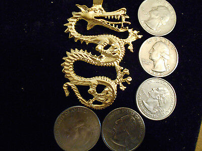 bling gold plated MYTH LEGEND CELTIC DRUID dragon pendant charm necklace JEWELRY