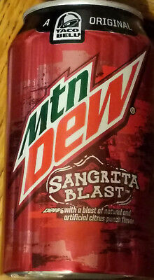 1 ONE Mountain Dew SANGRITA BLAST 12 oz Can Taco Bell Limited Edition 2015 FULL!