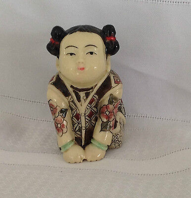 Vintage Japanese Chinese engrave duchess girl figurine hand carved and painted
