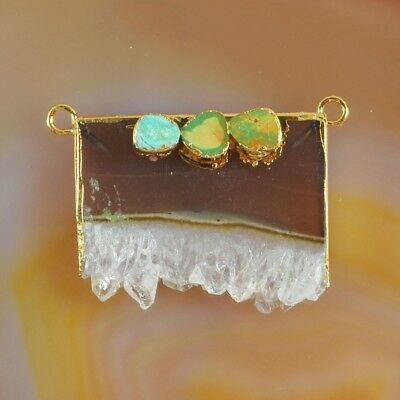 Rare Amethyst Druzy Slice & Genuine Turquoise Connector Gold Plated H125934