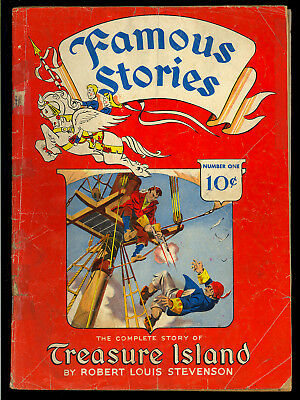Famous Stories #1 (Trimmed) Treasure Island Dell Comic 1942 App. GD