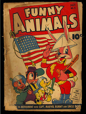 Fawcett's Funny Animals #8 (Missing 3 CFs) WWII Flag Cover 1943 FR-GD*