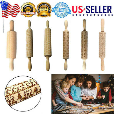 Christmas Deer Wooden Rolling Pin Carved Wood Embossing Cookies Fondant Roller