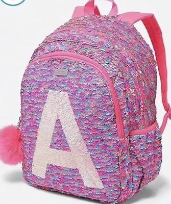 Justice Girls Flip PINK Pom Pom Initial K Sequin Initial Backpack NWT