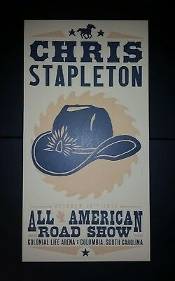SIGNED CHRIS STAPLETON HATCH LETTERPRESS PRINT Concert