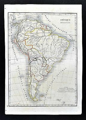 1830 Langlois Atlas Map South America Brazil Argentina Peru Colombia Patagonia