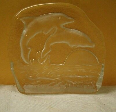 vintage Glass Crystal Leaping Dolphins Figurine 1980s frost & texture back sea