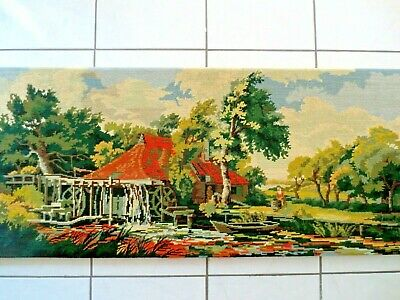 Tapestry Completed  On Frame Extra Large Paysage Au Moulin Royal Paris